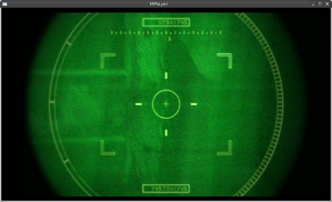 screenshot of the view through futuristic rifle sights in the film Appleseed